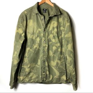 H&M Olive Oversized Bleach Dyed Boyfriend Jacket